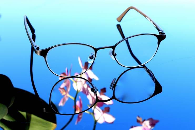 Lunettes de femme reflétant des fleurs